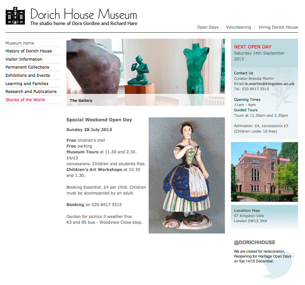Dorich House Museum website