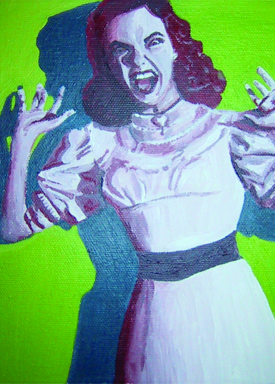 1950s style painting of a screaming lady