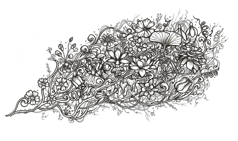 Flowers black and white illustration