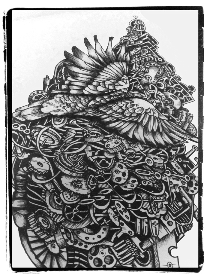 Parrot doodle illustration
