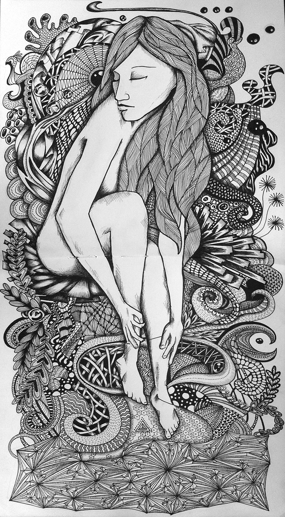 Black and white lady illustration