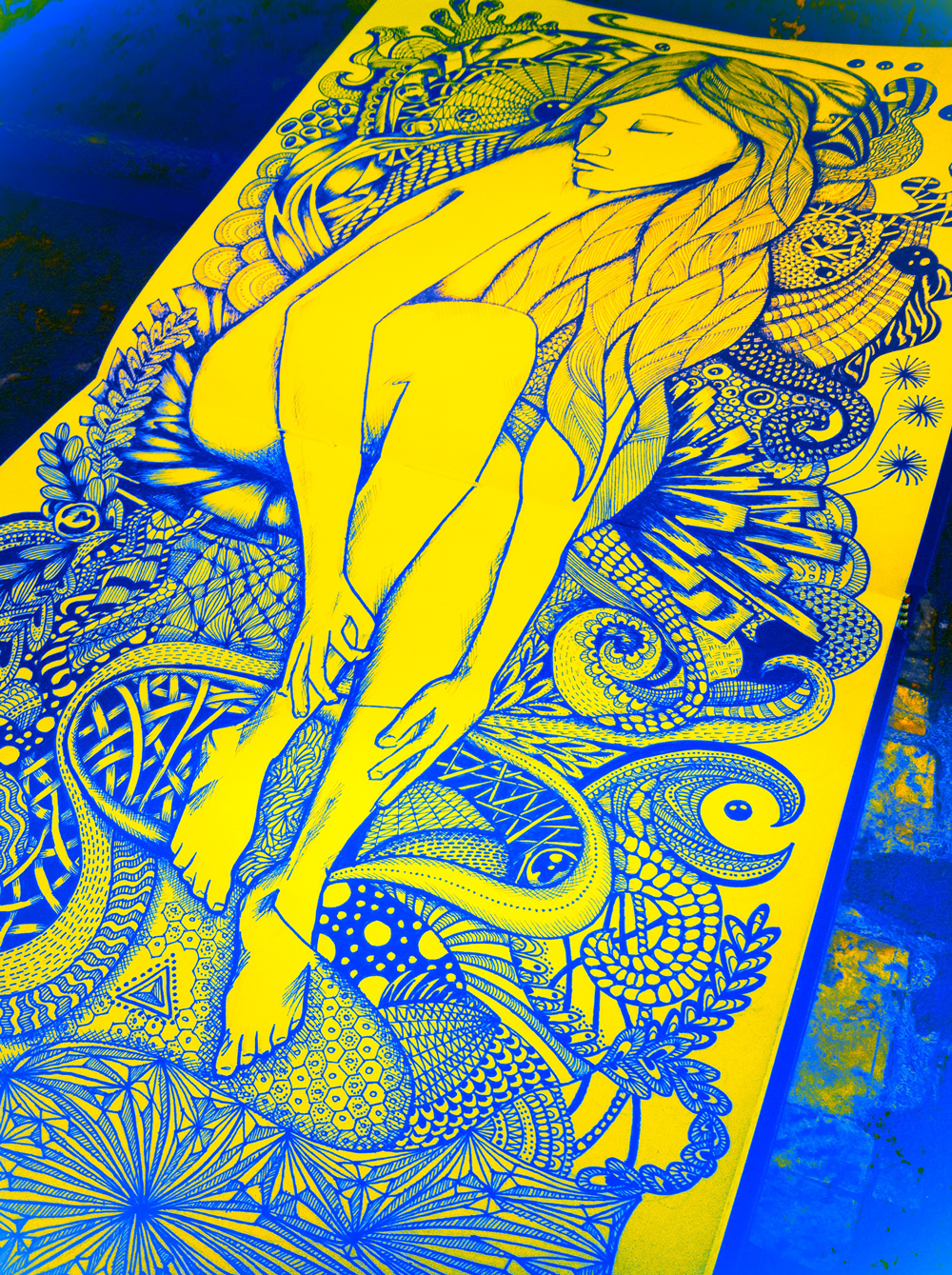 lady illustration in blue and yellow