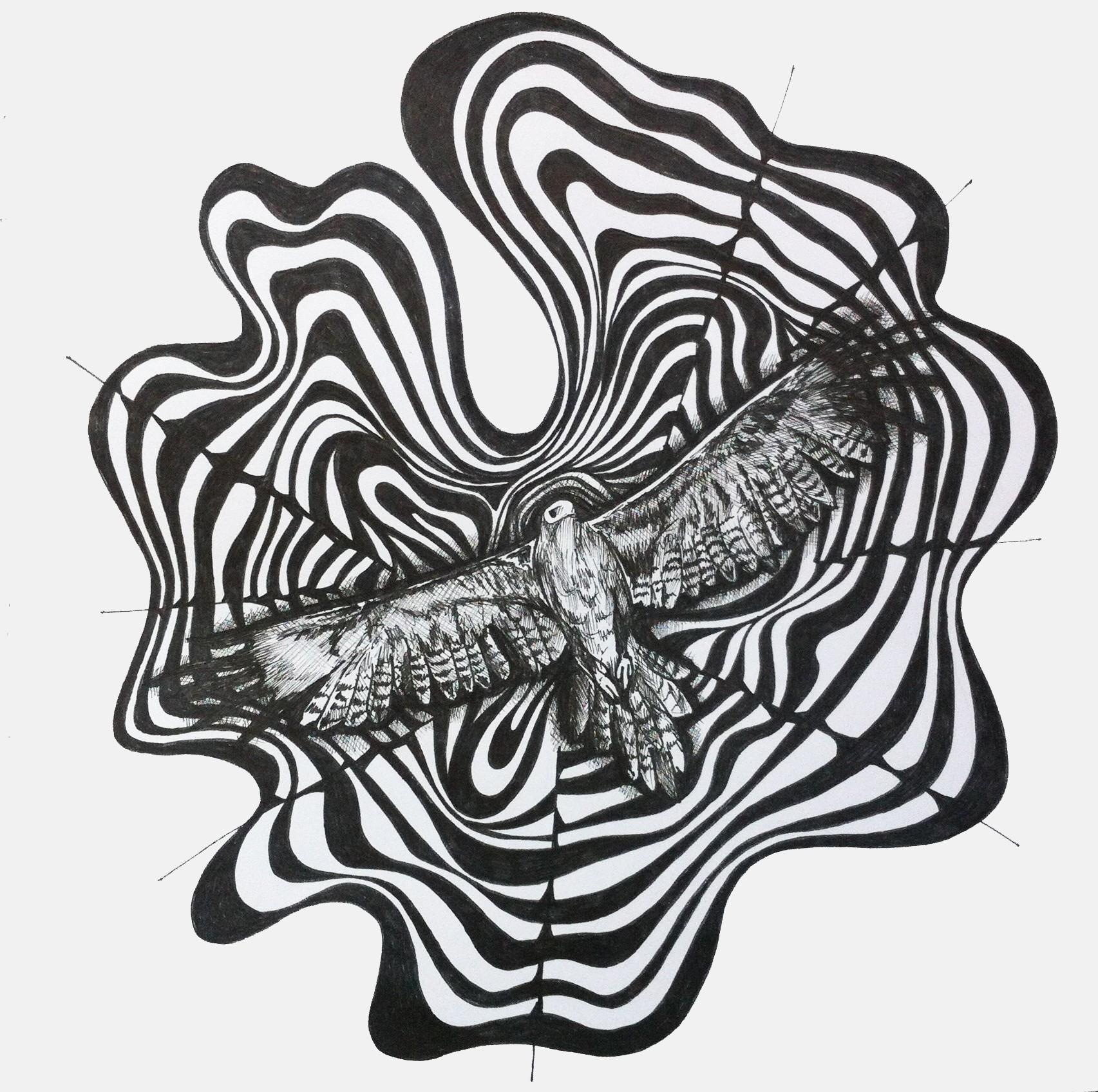 Eagle in swirls