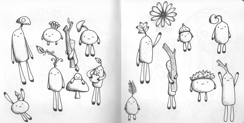 Woodland people sketchbook drawings