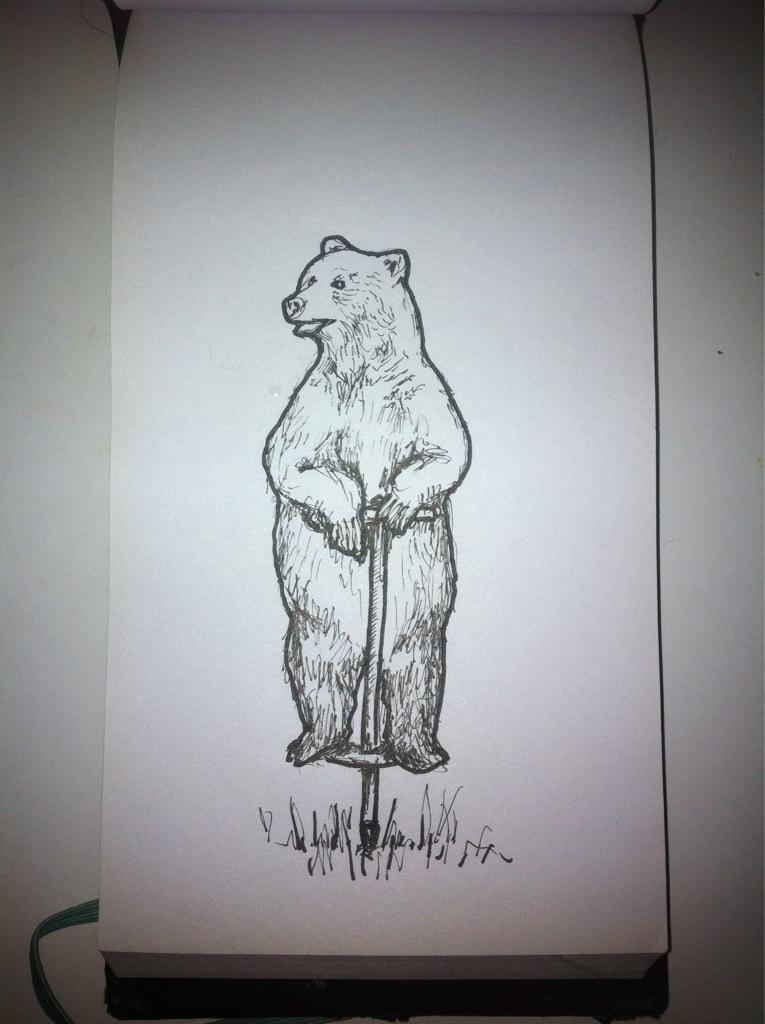 Bear on pogo stick