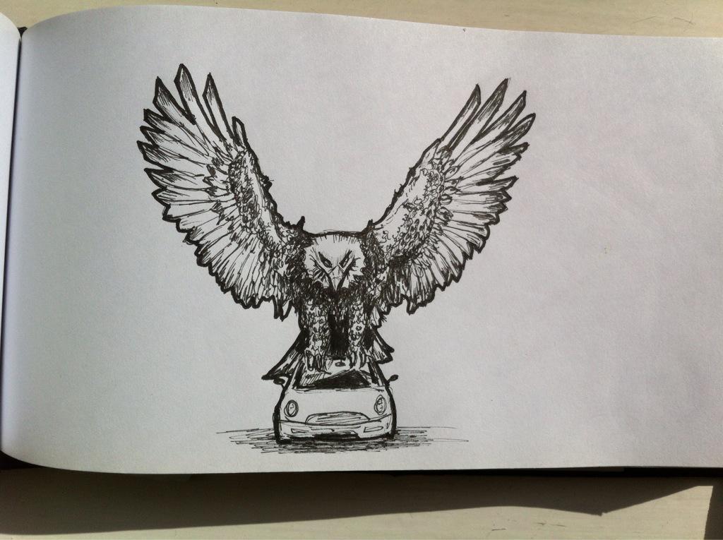 Eagle on a toy car
