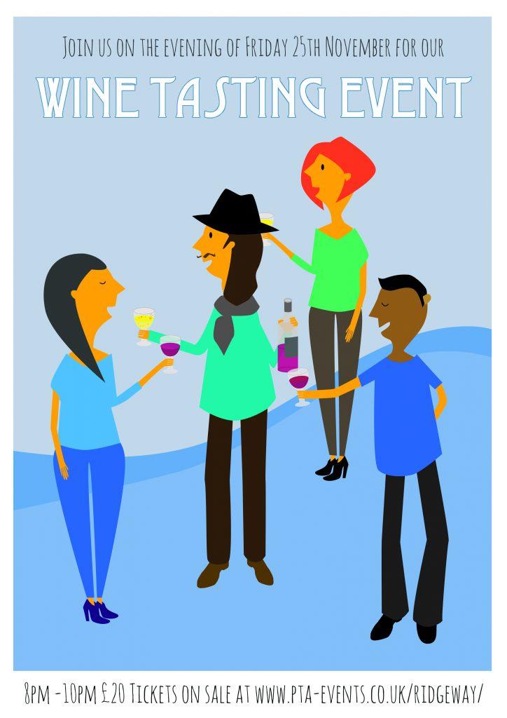 illustration of a wine tasting event