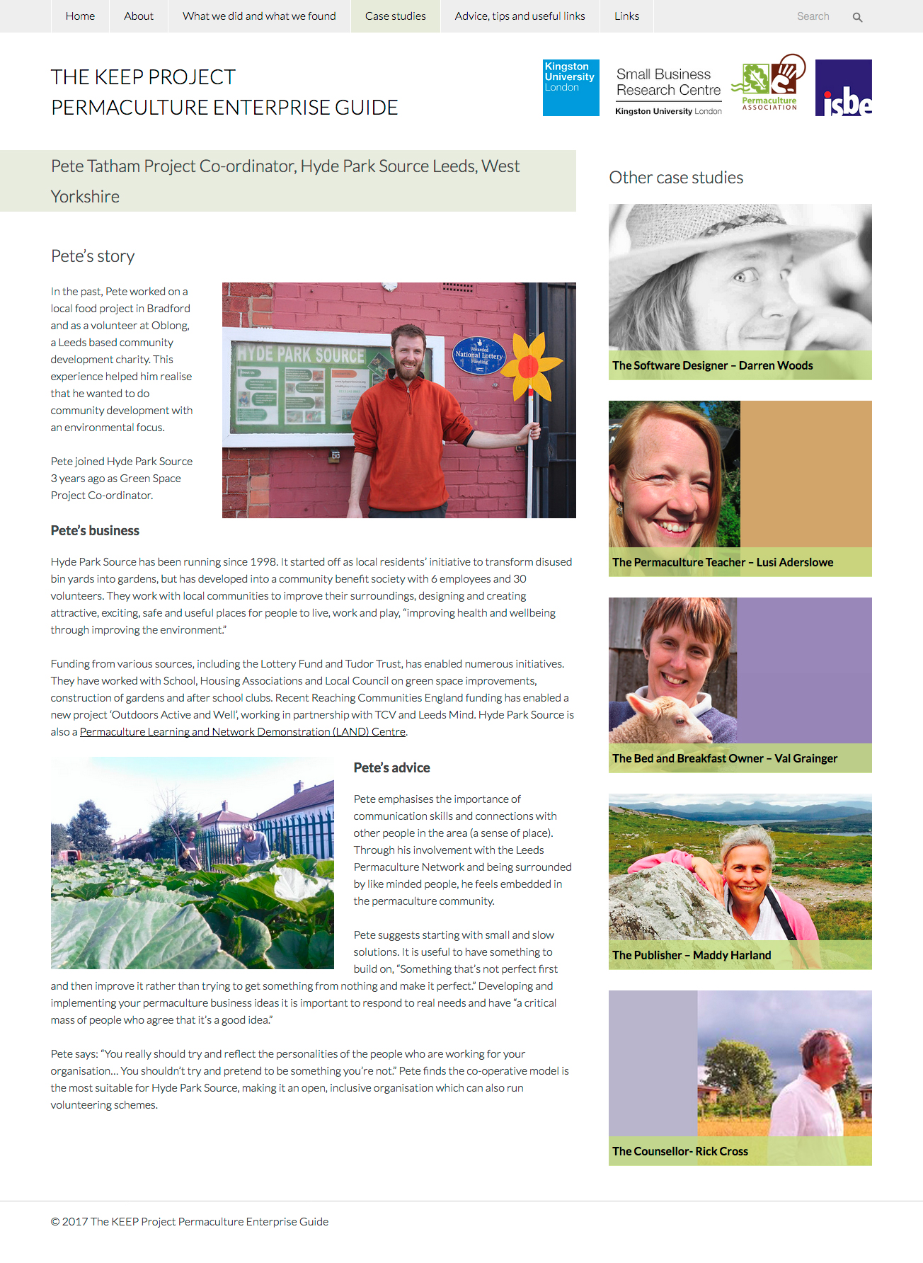 THE KEEP PROJECT Permaculture Enterprise Guide website screenshot