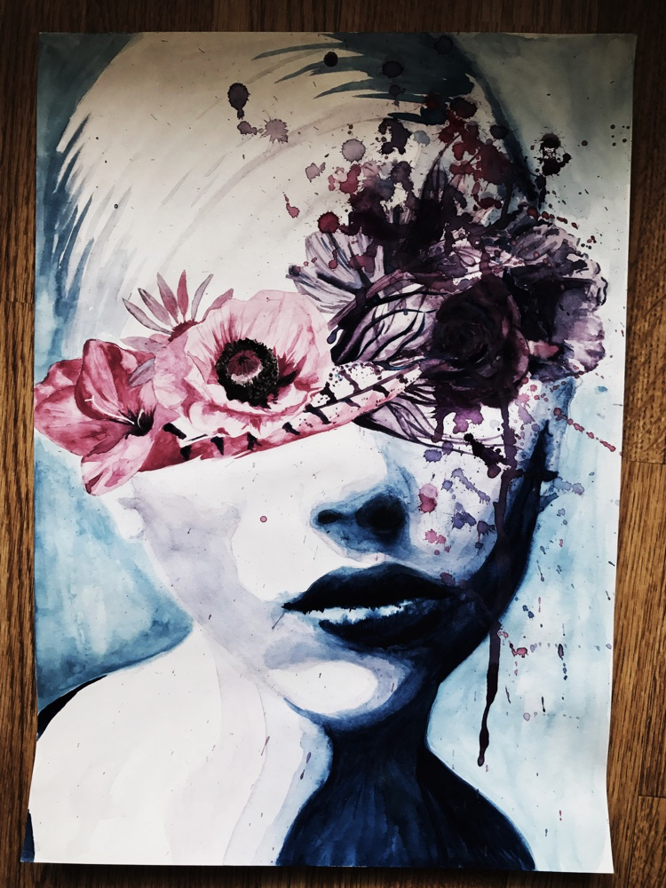 Water colour painting of woman with flowersand feather over her eyes