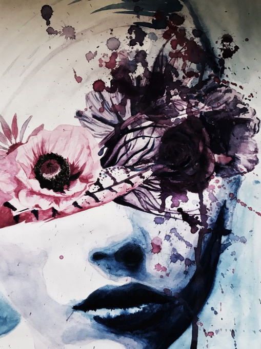 Illustration water colour painting of woman with flowers and feather over her eyes