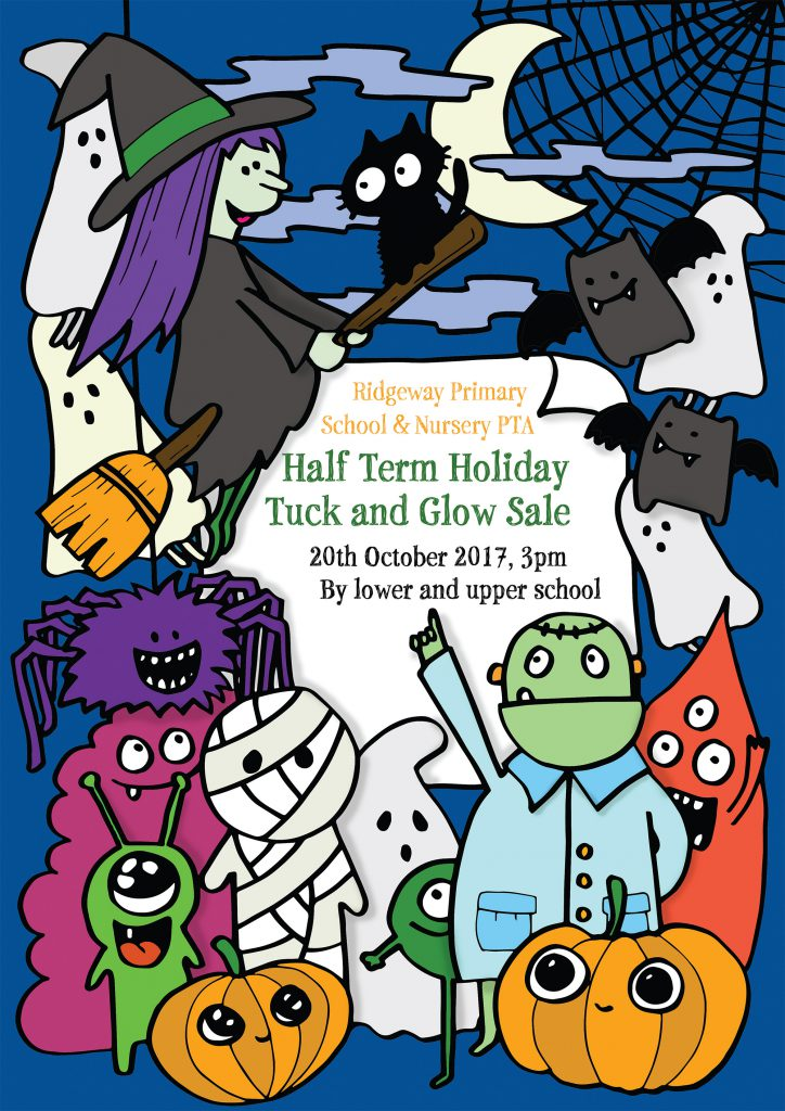 Halloween poster with pumpkins,witches, monsters etc