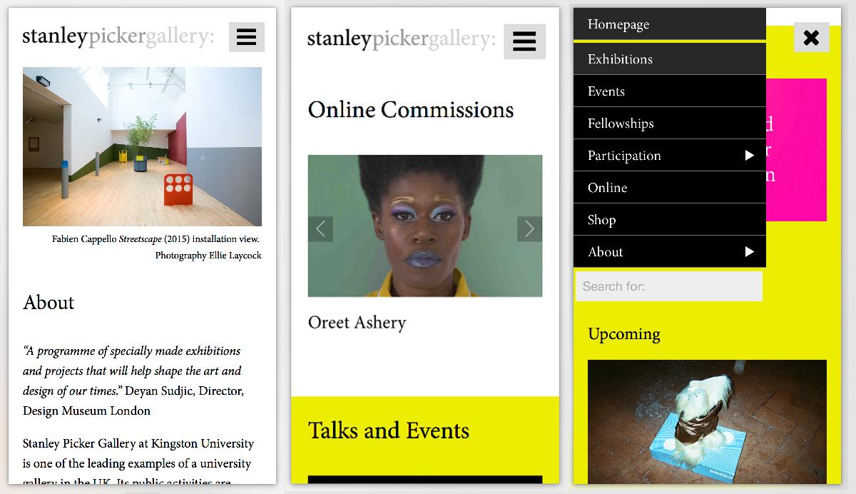 Stanley Picker Gallery website screenshot
