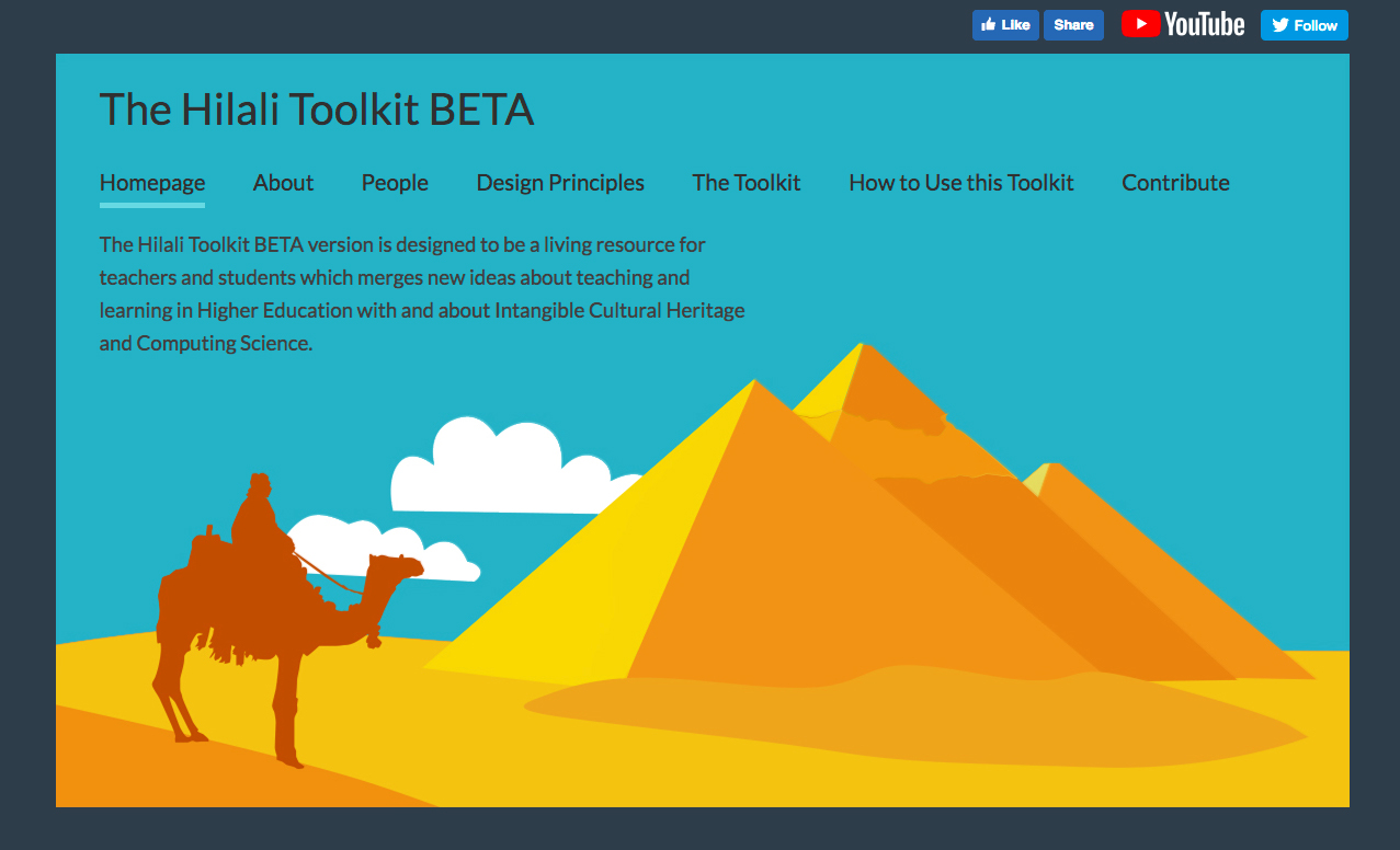 Screenshot of Hilali toolkit website with illustration of a camel in front of pyramids