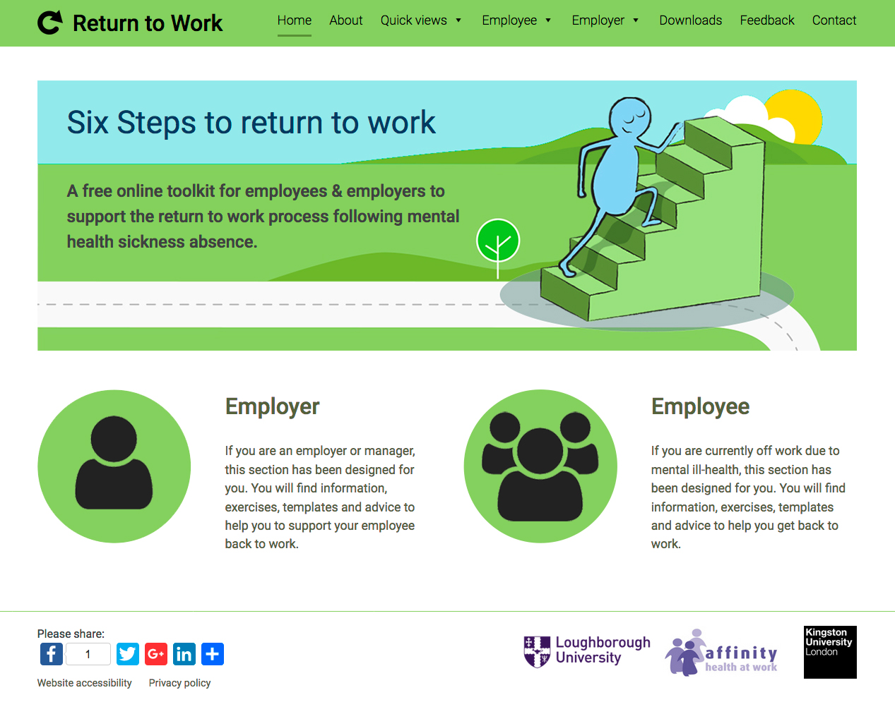 Return to Work website screenshot