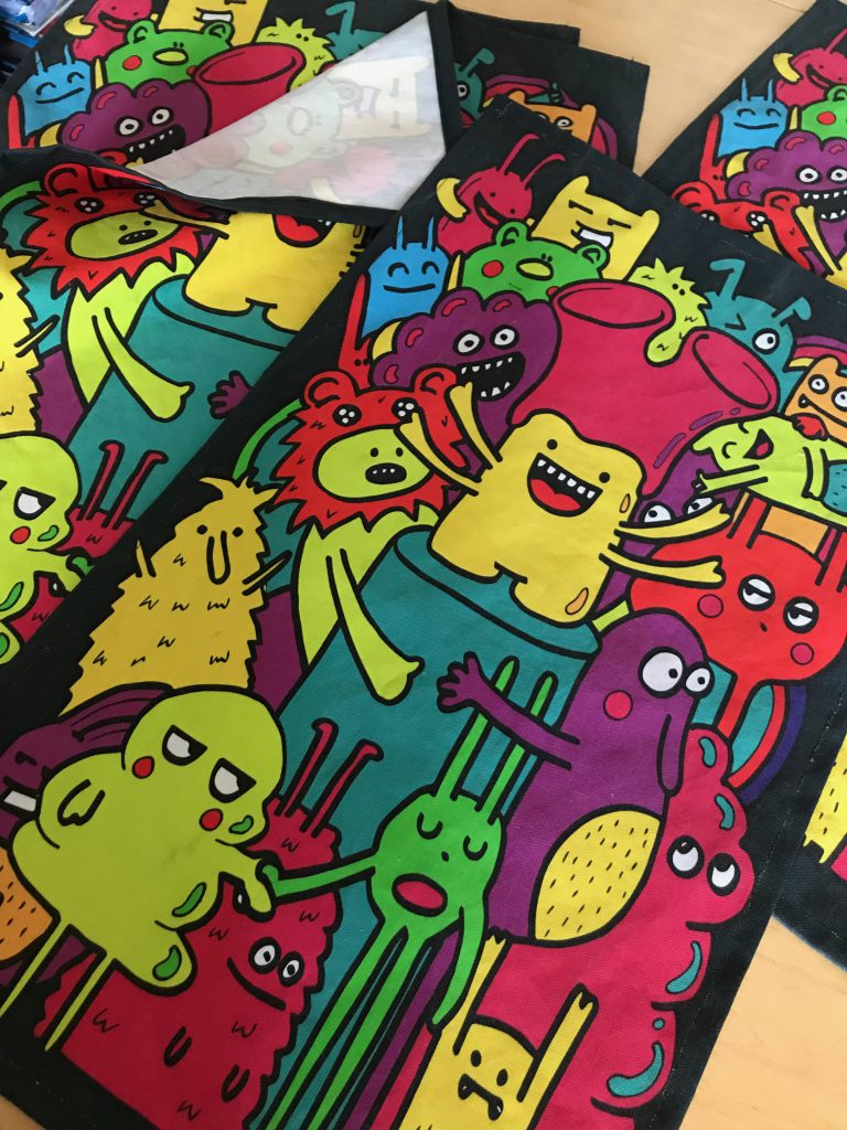 Monster illustration tea towel