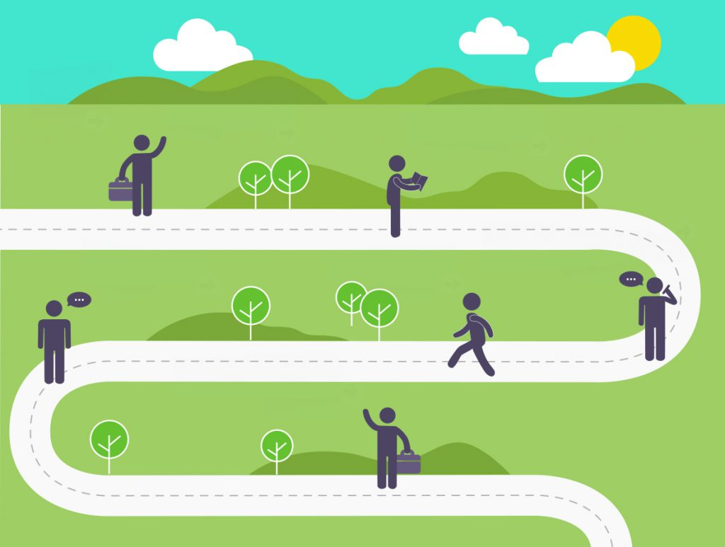 Graphic illustration of stick men walking dotted along a winding road in the countryside.