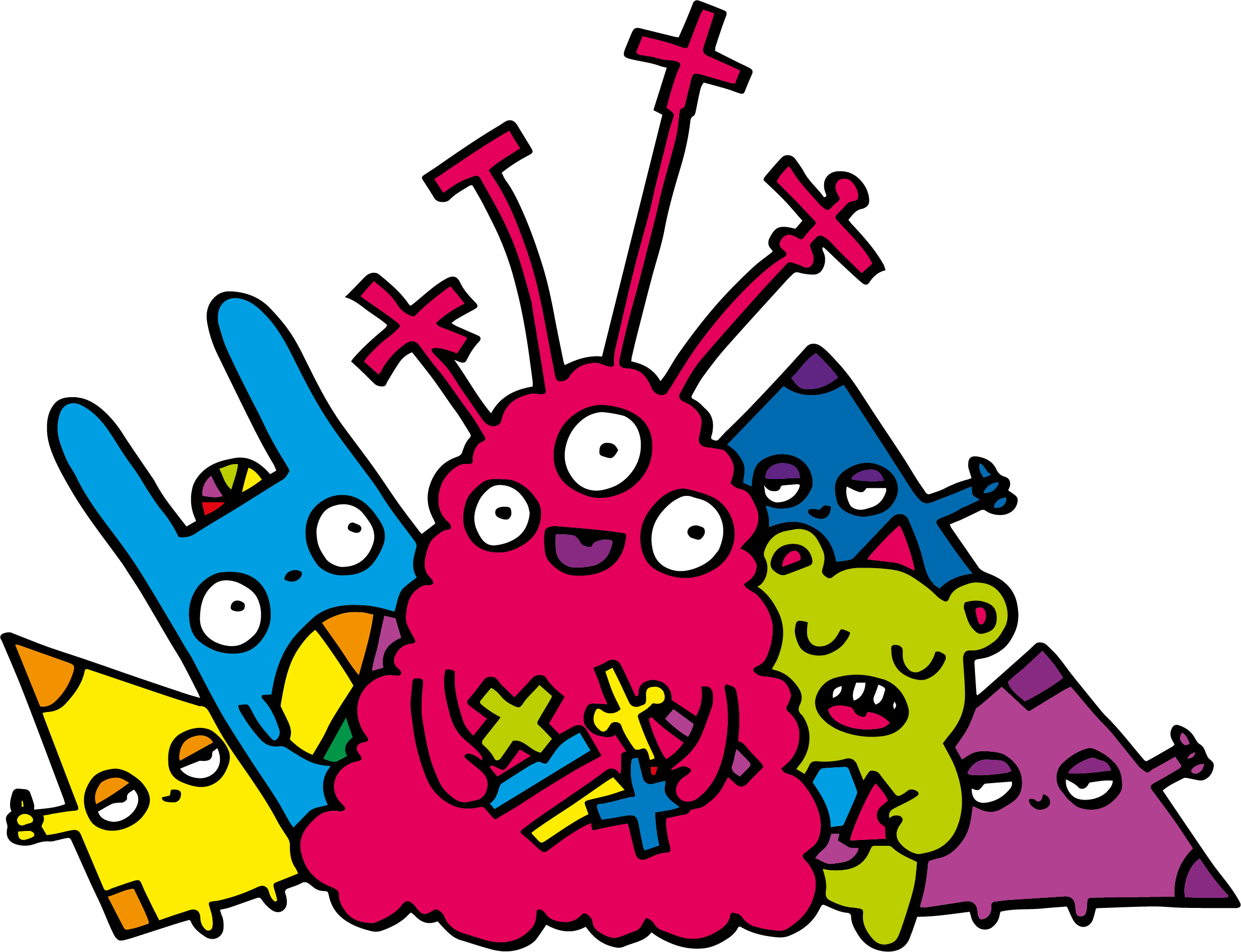 Colourful illustration of maths monsters