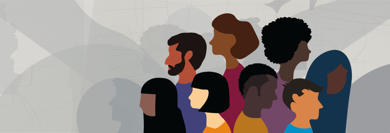 Graphic illustration of a group of people from different ethnicities