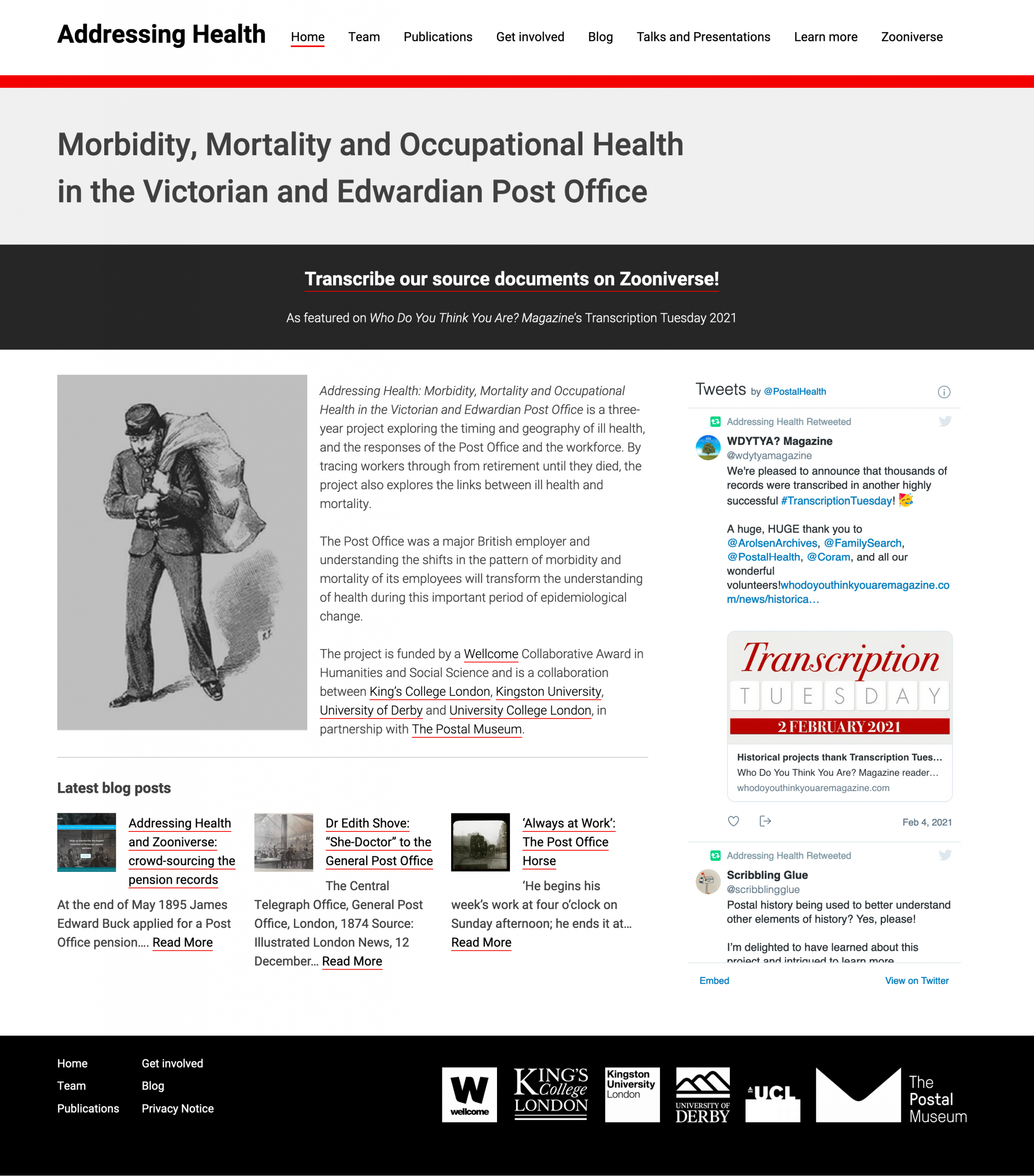 Addressing Health website screenshot showing homepage text and old illustration of a postman