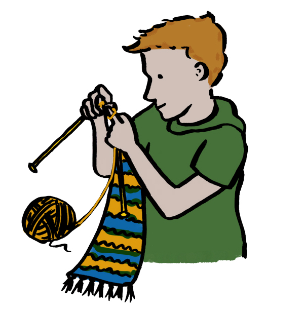 Drawing of a boy knitting