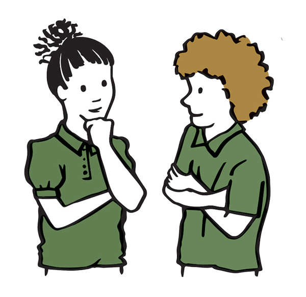 drawing of a girl and boy thinking