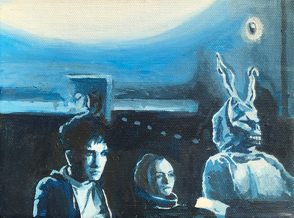 Painting of a scene from the Donnie Darko movie.