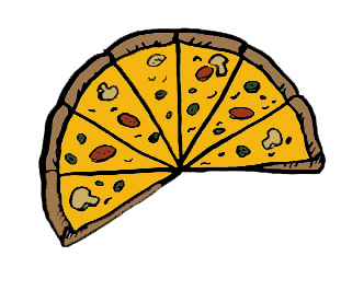 Drawing of a pizza