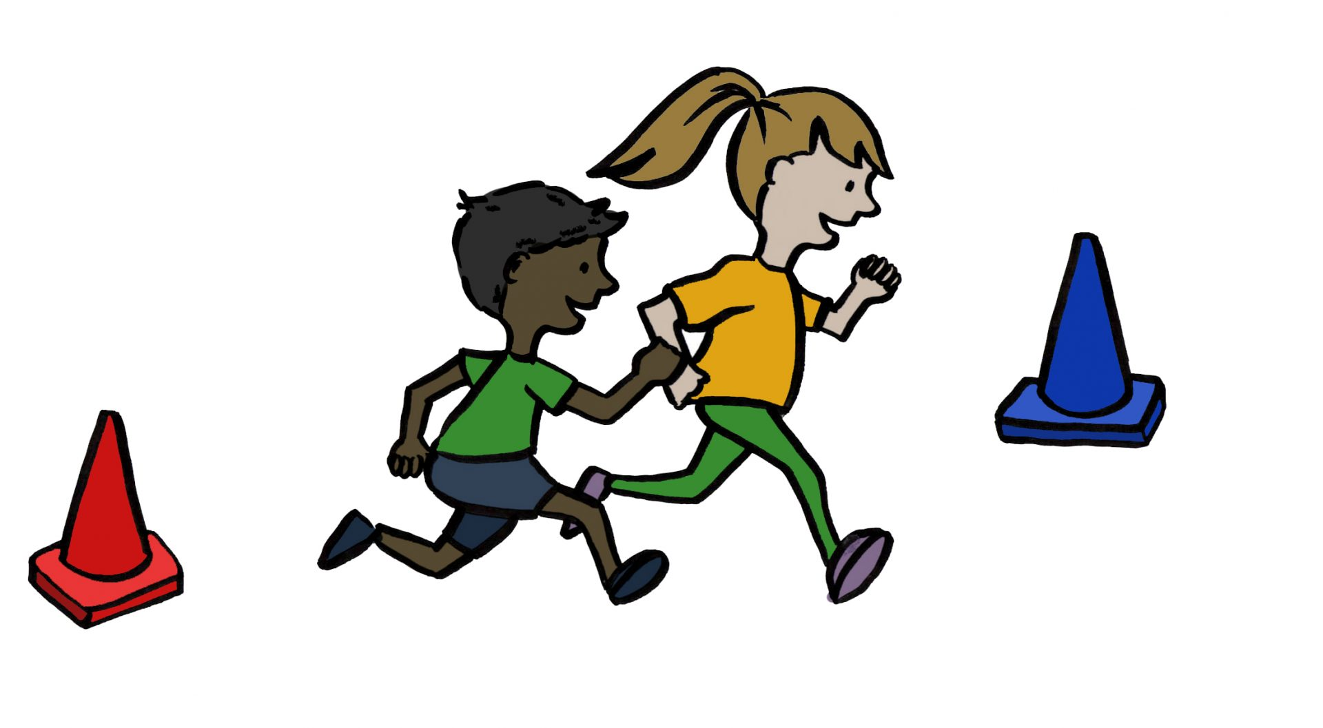Drawing of two children running