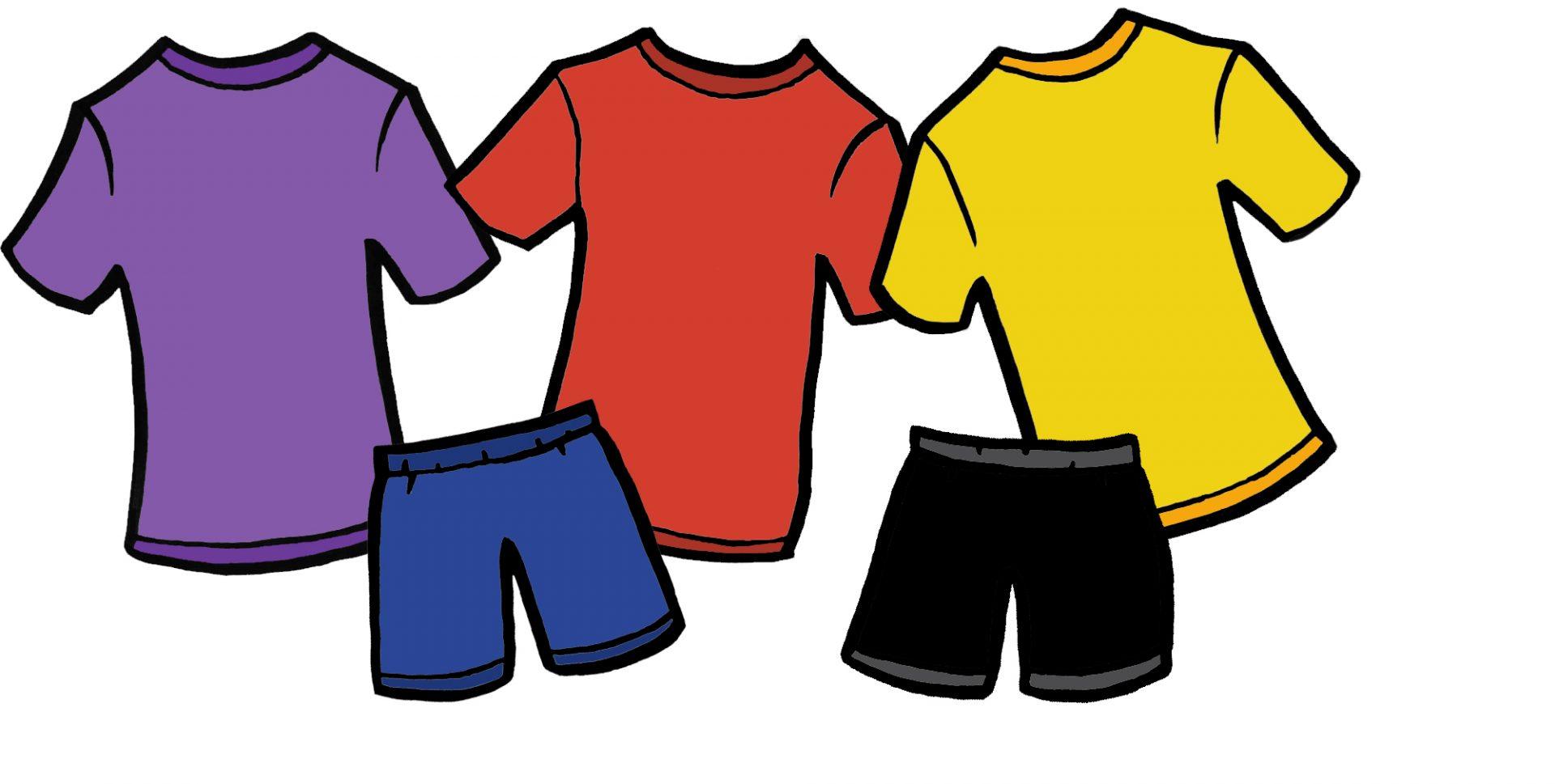 Drawing of t-shirts and shorts