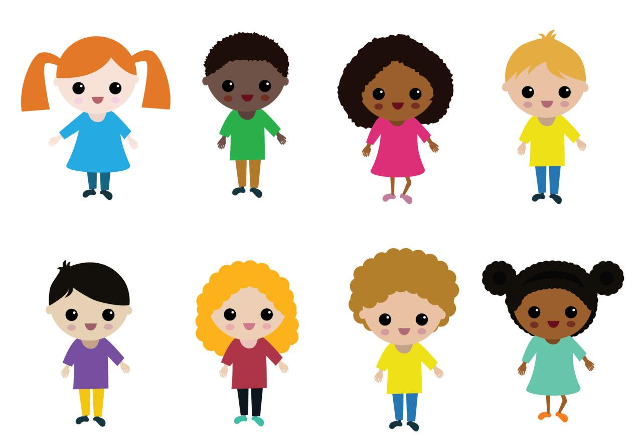 Illustration of eight small cartoon children