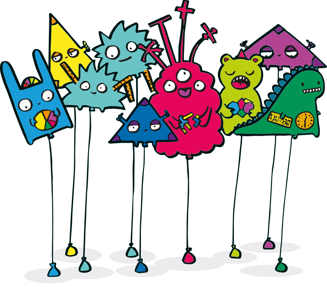 illustration of the maths monsters as helium balloons