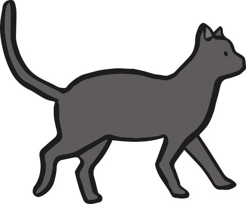 illustration of black/dark grey cat