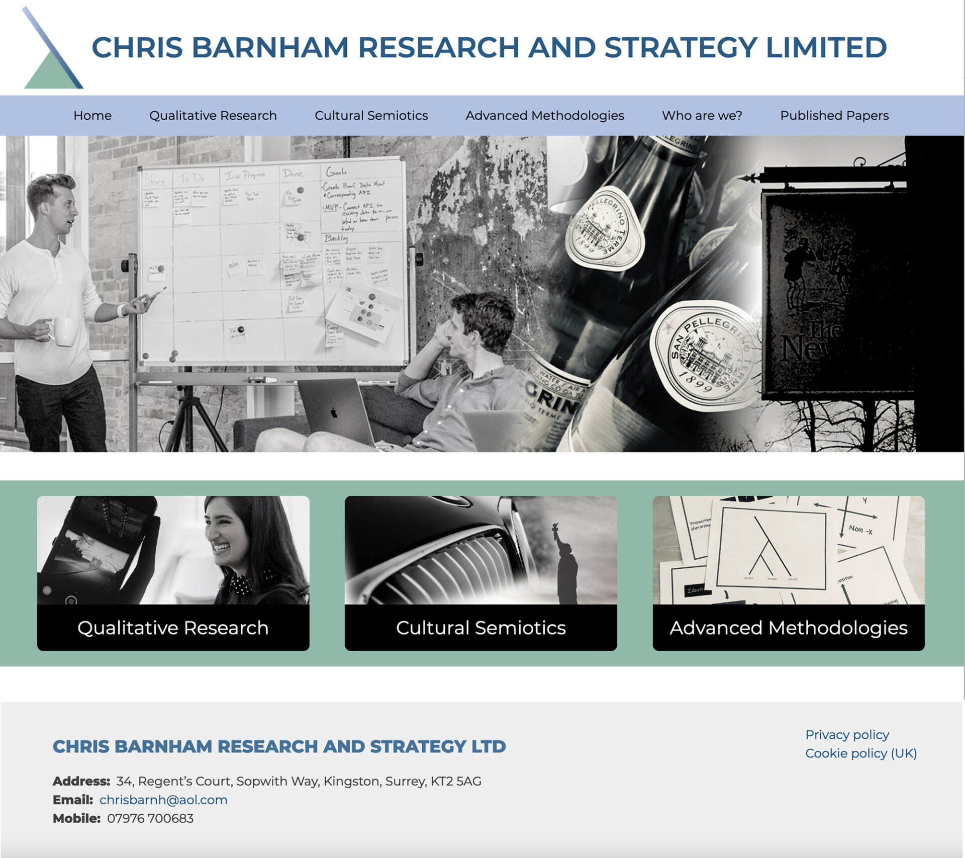 Screenshot of homepage of Chris Barnham website featuring blended black and white photos and contact information.
