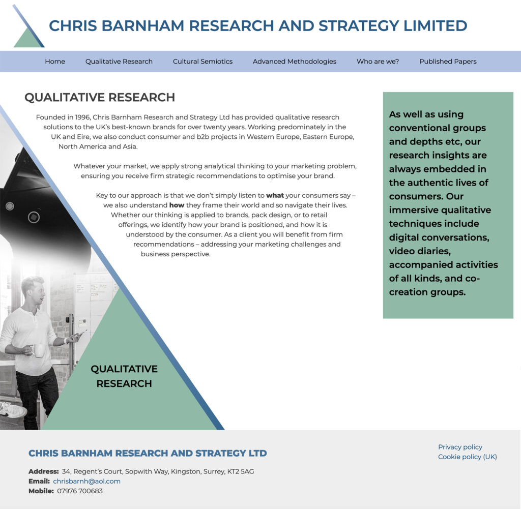 Screenshot of research page of Chris Barnham website featuring blended black and white photos and contact information.