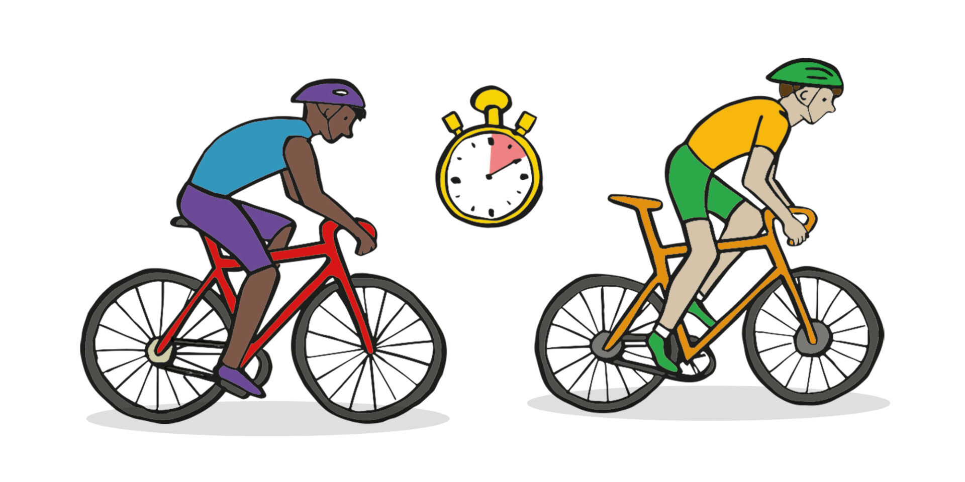illustration of two cyclists, one in front of the other with a stopwatch inbetween