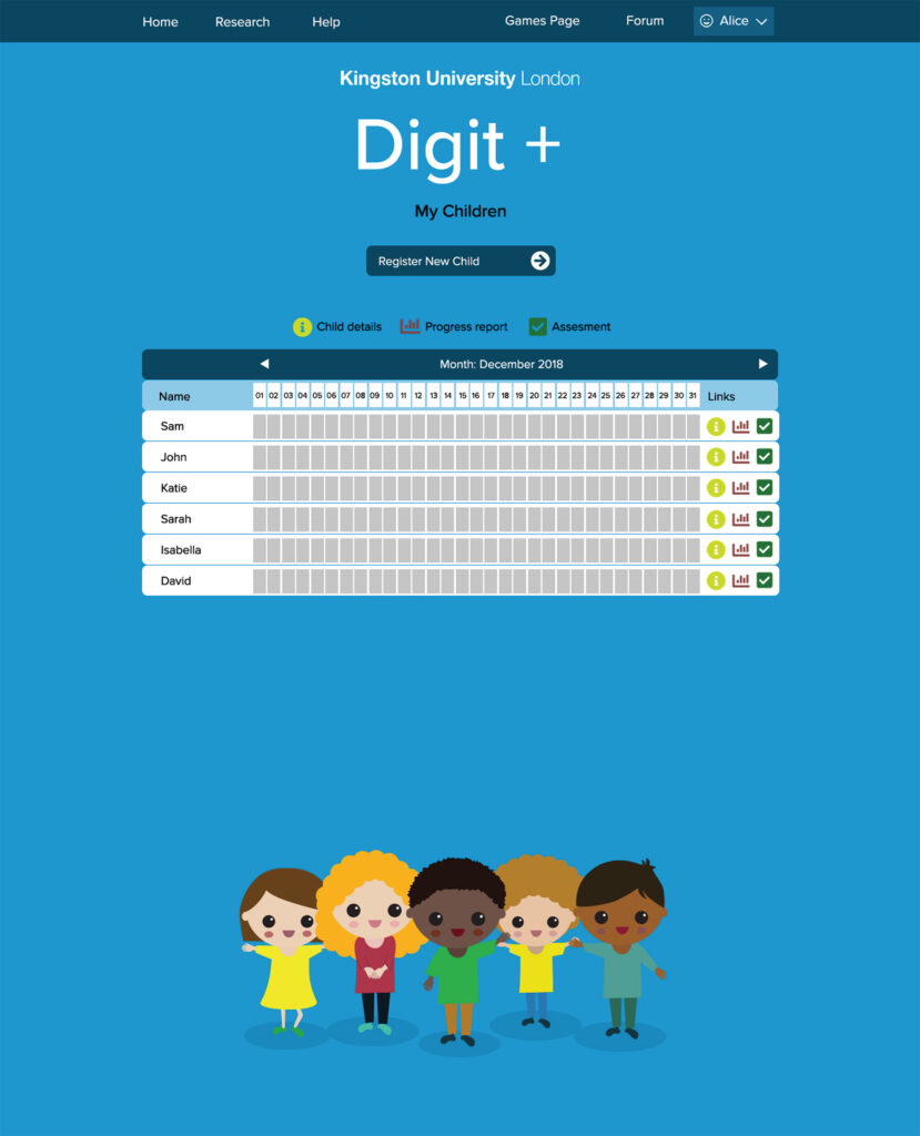 Mock up of a web tracking page with illustrations of small children