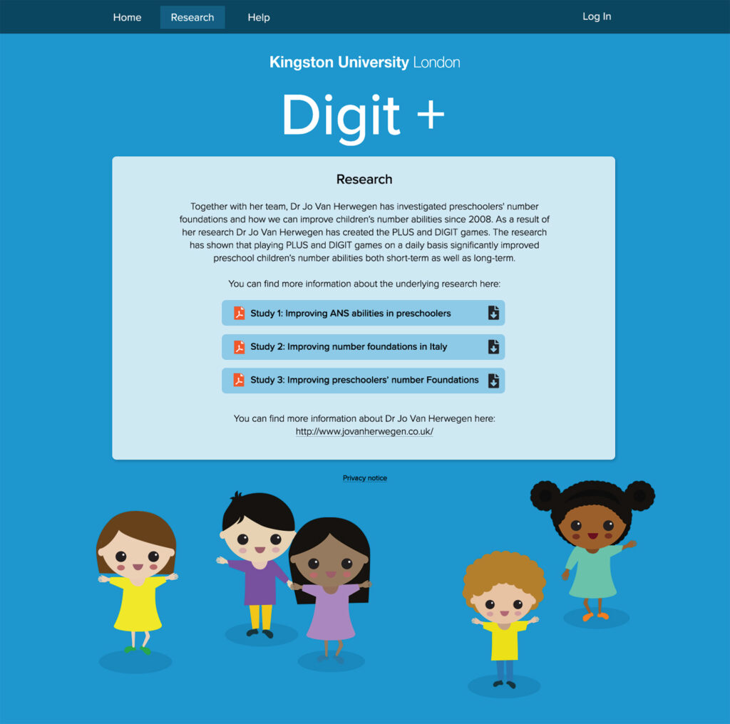 Mock up of a web page with illustrations of small children