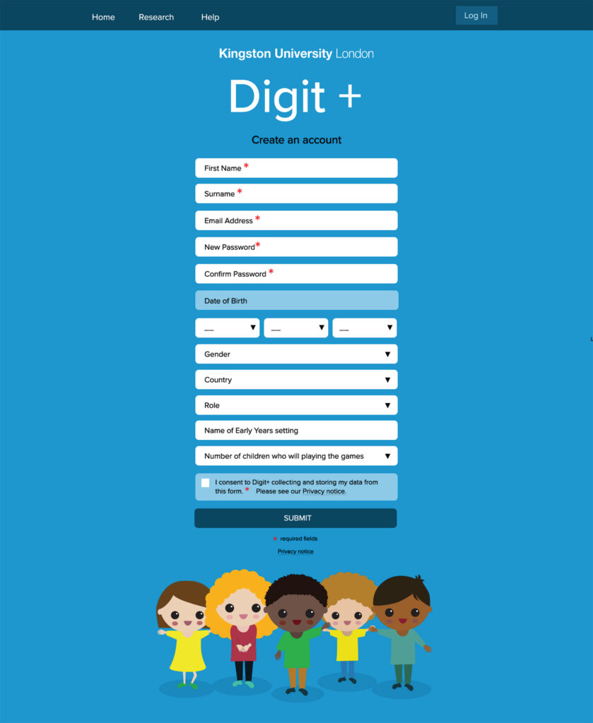 Mock up of a web create an account page with illustrations of small children
