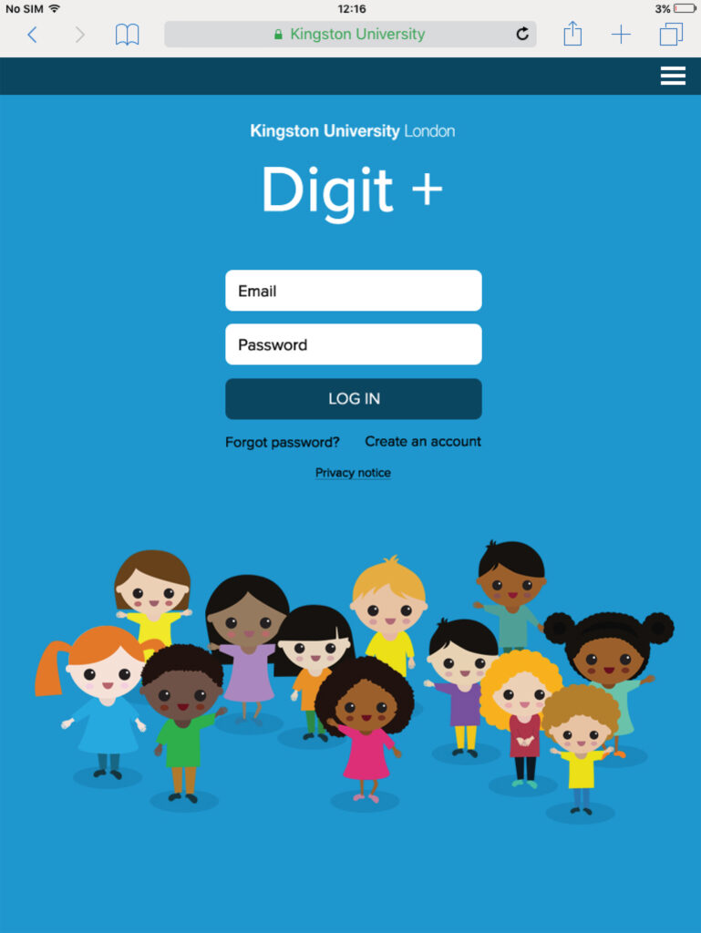 Mock up of log in page with illustrations of small children