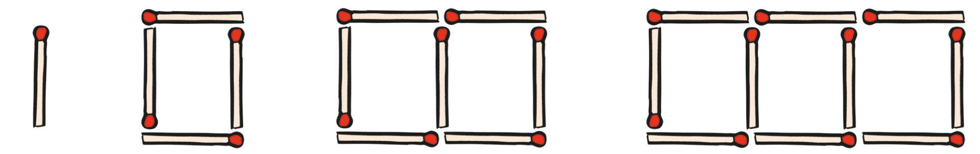 illustration of matchsticks arranged like number 1 0 00 000