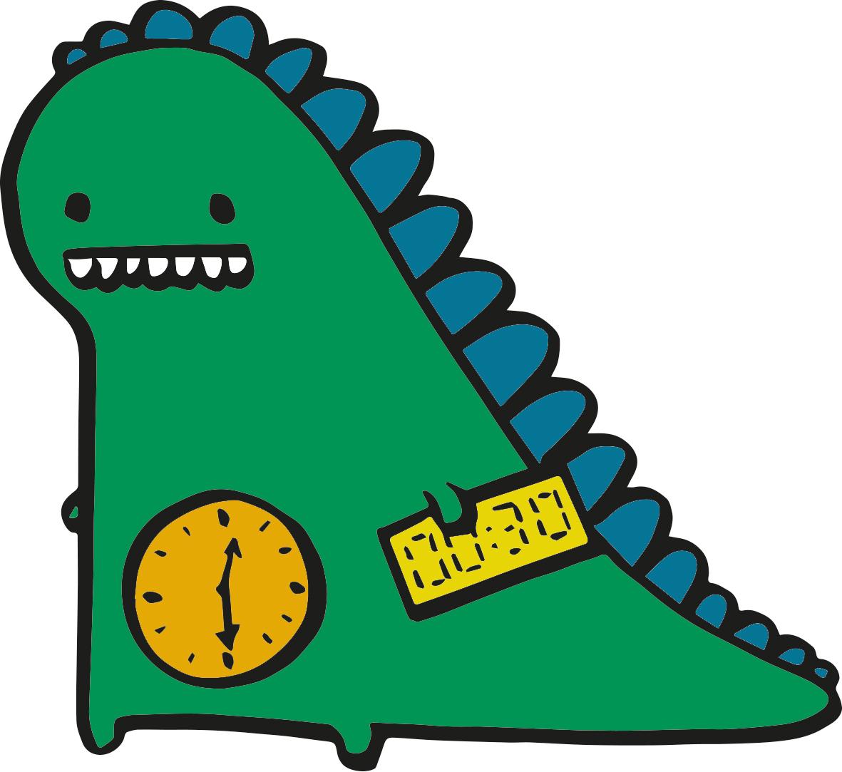 cartoon maths little green time monster